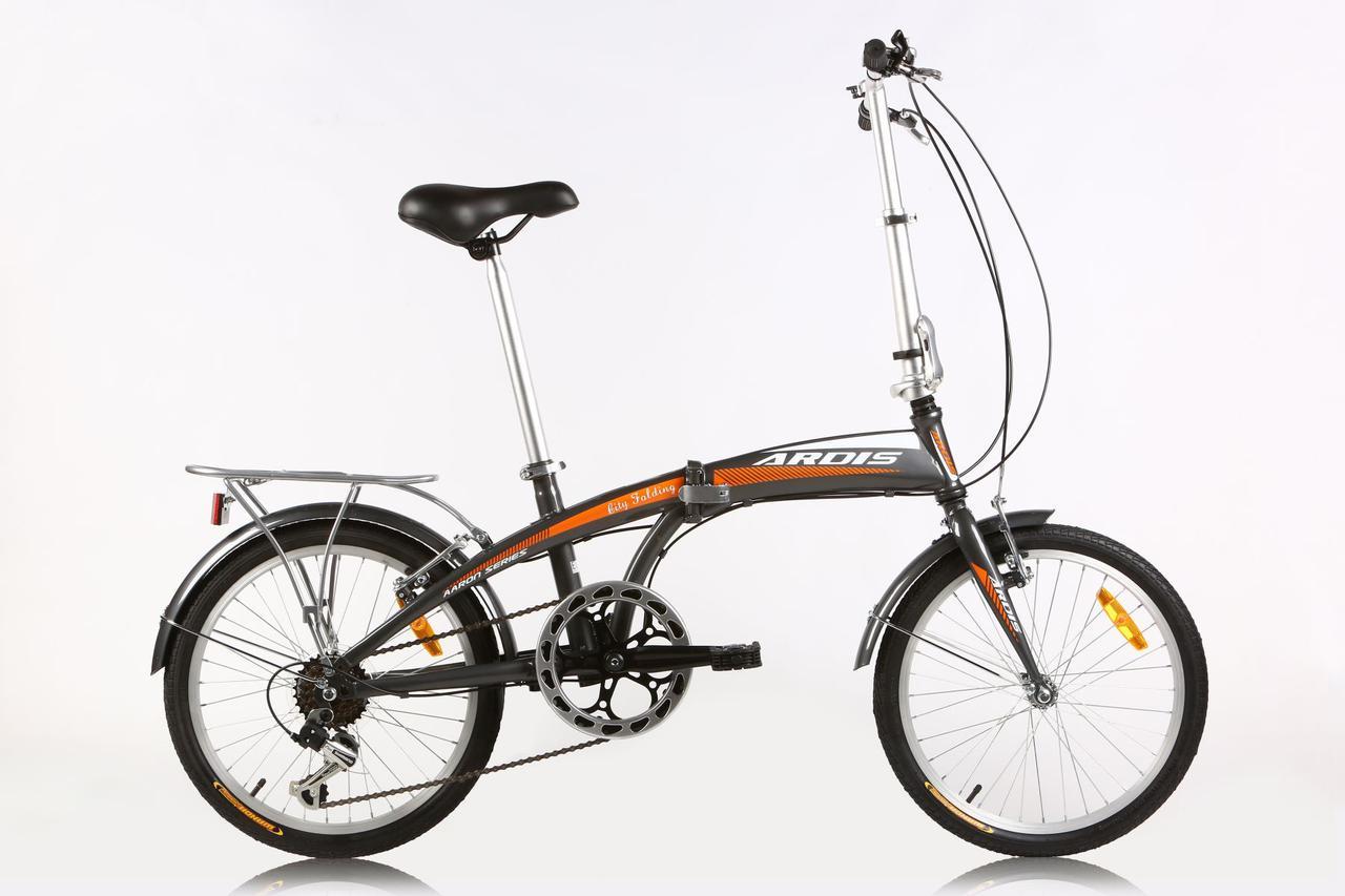 """Складной велосипед CROSSRIDE CITY FOLDING 20""""  Серый/Оранжевый"""