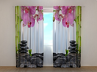 """Фото штора """"Орхидеи и бамбук"""" 250 х 260 см"""