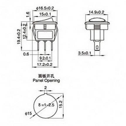 Выключатель (клавиша) без подсветки 250V, мини, красный, (ON-OFF), фото 2