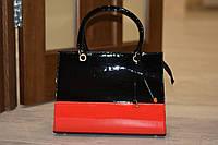 Элегантная женская сумка черно-красный лак, эко кожа