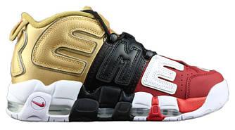 Мужские | Женские Кроссовки Supreme x Nike Air More Uptempo 'Tri-Color' Black Gold Red