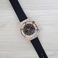 Женские часы Hublot (черный + золотистый циферблат)