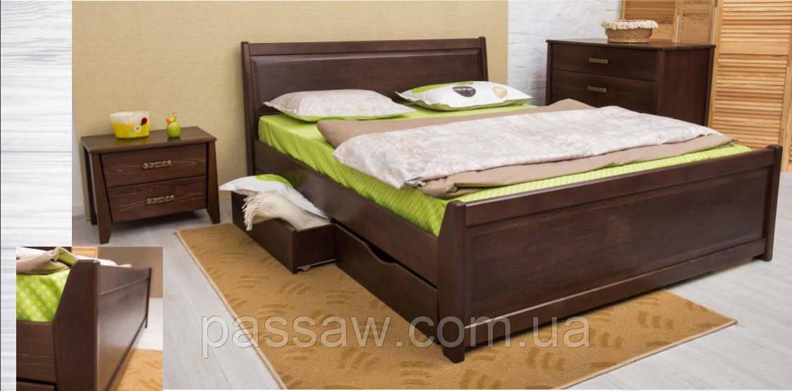 """Кровать деревянная """"Сити с филенкой и ящиками"""" 1,8"""