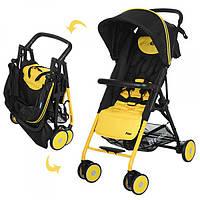 Детская прогулочная коляска Pilot  M 3294-6, книжка, резиновые колеса, желто-черный