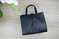 Кожаная черная сумка   98-0244