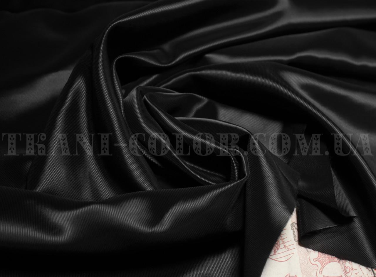 Подкладочная ткань нейлоновая стрейч диагональ черная (Европа)