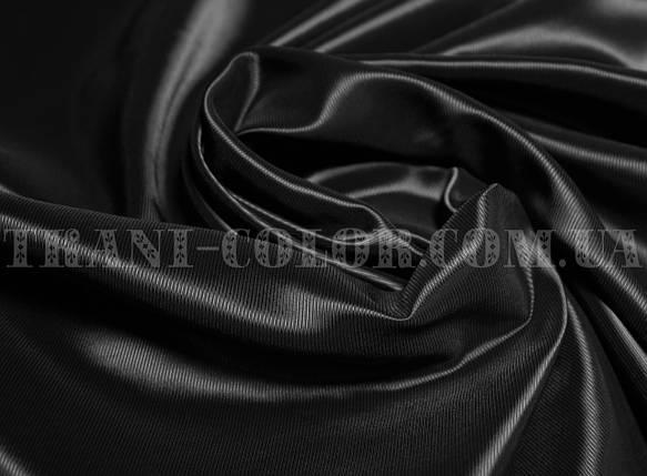 Подкладочная ткань нейлоновая стрейч диагональ черная (Европа), фото 2