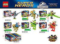Конструктор JLB 3D15 Супергерои на динозаврах (аналог Lego Super Heroes) 6 видов