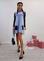 Платье. Ткань - замш турция. Размер универсал. (21323) 44, голубой