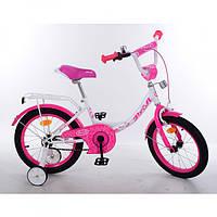 Двухколесный велосипед PROFI 14 дюймов Y1414 Princess бело-малиновый