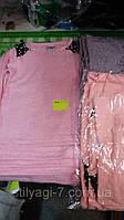 Туника для девочки легкая ангора на 4-12 лет розового,персикового,серого цвета с жемчугом оптом