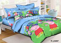 Полуторное детское постельное белье  Свинка Пеппа
