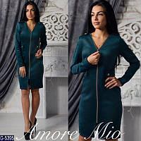 Женское платье замшевое на молнии, фото 1