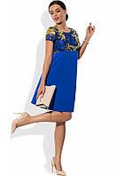 Оригинальное платье-трапеция синего цвета