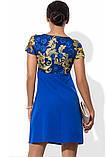 Оригинальное платье-трапеция синего цвета, фото 2