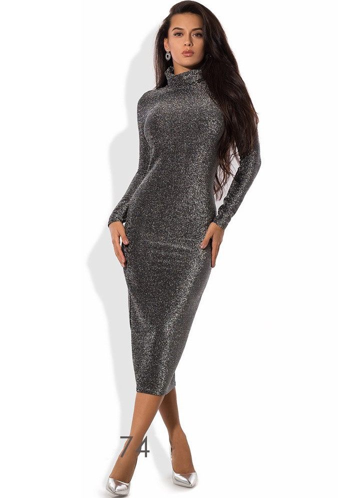 Уникальное платье-водолазка из люрекса