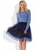 Стильное сине-голубое платье с пышной юбкой Д-448