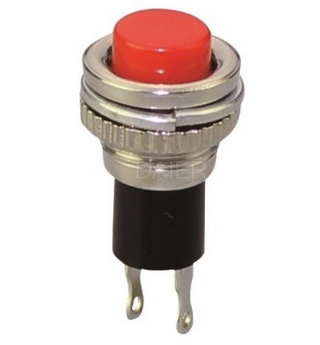 Кнопка круглая без фиксации 250V, мини, красная, (OFF-ON)