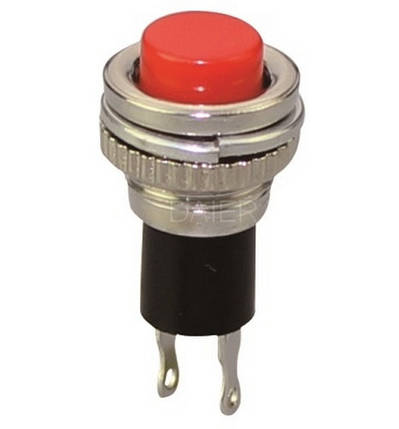 Кнопка круглая без фиксации 250V, мини, красная, (OFF-ON), фото 2