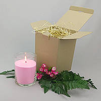 Подарочный набор розовая насыпная свеча 15 см