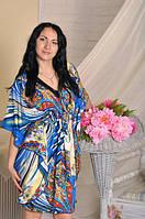 Штапельное женское платье - кимоно в пол. , фото 1