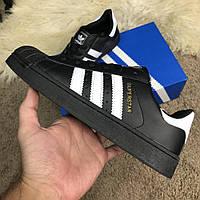 Кроссовки Adidas Superstar Core Black (реплика)