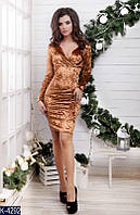 Женское платье короткое бархатное