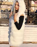 Белая меховая жилетка с капюшоном 80 см