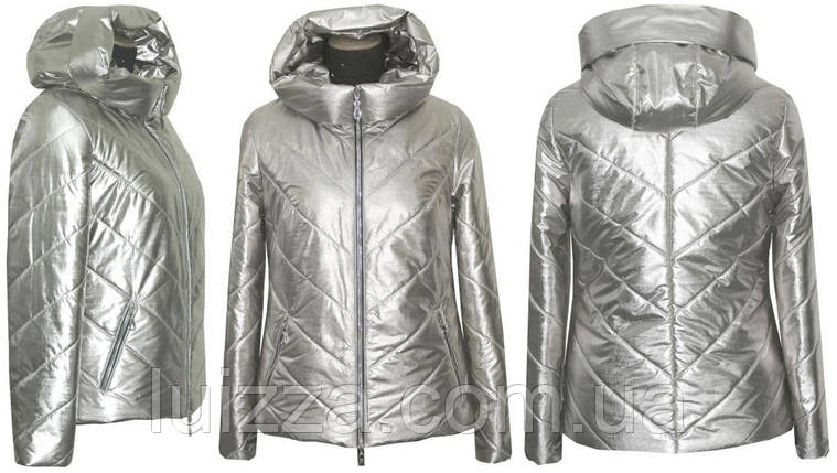 Женская модная куртка Серебро  42-52р, фото 2