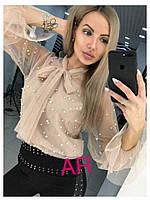 Женская блуза с декором и воротником - бант, в расцветках. АР-3-0620