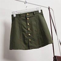 Джинсовая юбка на пуговицах цвета хаки