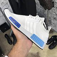 Adidas NMD R1 Primeknit Og White/Blue/Glow (реплика)