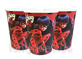 Стаканчики бумажные с рисунком (250мл.) одноразовые детские (10 шт./уп.) -   Lady Bug, Красный