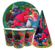 """Набор для детского дня рождения """" Тролли """". Тарелки -10шт. Стаканчики - 10шт. Колпачки - 10шт."""