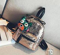 Рюкзак мини женский из эко кожи с брелком подвеской Собачка (золотистый), фото 1