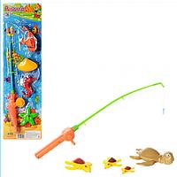 Рыбалка M 0036 U/R 2 вида, удочка, 4 морских животных, на листе, 53-15см,детский игровой набор