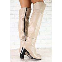 Сапоги ботфорты кожаные бежевые на маленьком удобном каблуке, евро зима