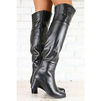 Ботфорты кожаные черные на маленьком удобном каблуке, евро зима