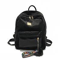 Рюкзак женский бархатный с помпоном (черный), фото 1