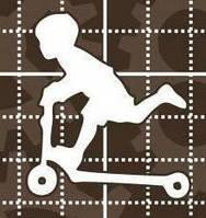 Чипборд. Мальчик на самокате размером 35х40мм