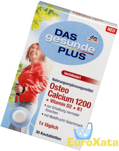 Витамнинний комплекс DM Das gesunde Plus Osteo Calcium 1200 + Vitamin D2 + K1 (30шт) Германия