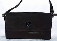 Женский каштановый клатч с замшевым клапаном на 3 отделения внутри 26*14 см, фото 1