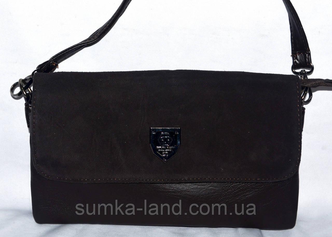 Женский каштановый клатч с замшевым клапаном на 3 отделения внутри 26*14 см