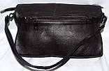 Женский черный клатч с замшевым клапаном на 3 отдела внутри 26*14 см, фото 2