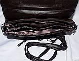 Женский черный клатч с замшевым клапаном на 3 отдела внутри 26*14 см, фото 4