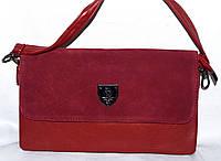 Женский красный клатч с замшевым клапаном на 3 отделения внутри 26*14 см, фото 1