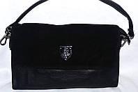 Женский черный клатч с замшевым клапаном на 3 отделения внутри 26*14 см, фото 1