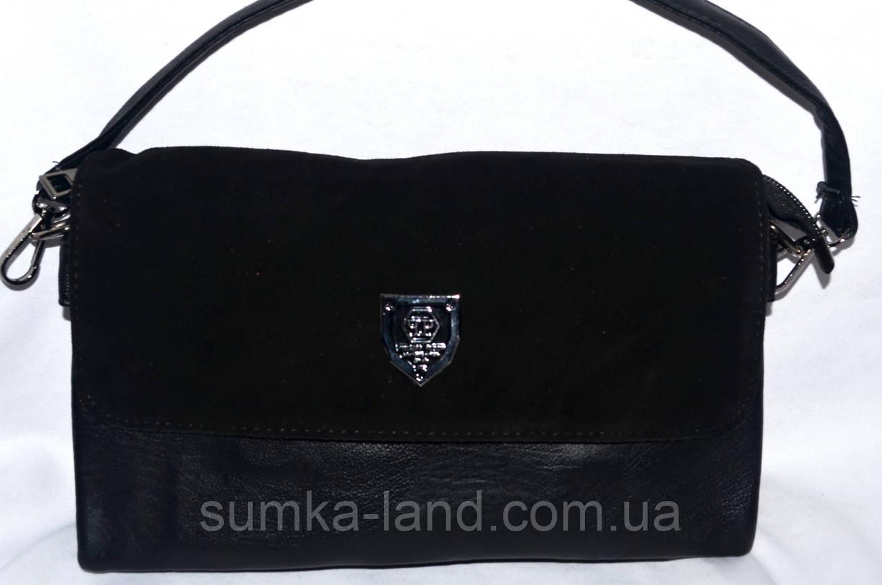 Женский черный клатч с замшевым клапаном на 3 отделения внутри 26*14 см