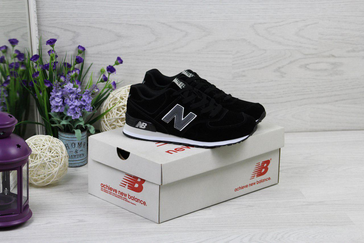 Кроссовки женские New Balance 574 (черные), ТОП-реплика