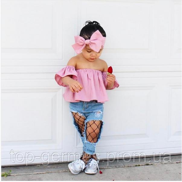 Детский костюм для девочки-Топ с открытыми плечами+рванные джинсы, фото 1